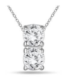 1/2 Carat TW Two Stone Diamond Pendant in 14K White Gold