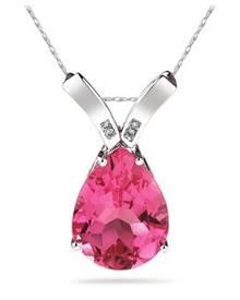 10 1/4 Carat Pear Shaped Pink Topaz & Diamond Pendant in 10K White Gold