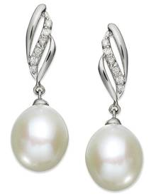 Macy's 14k White Gold Earrings, Cultured Freshwater Pearl (9mm) and Diamond (1/10 ct. t.w.) Drop Earrings