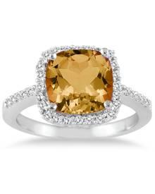 2 1/2 Carat Cushion Cut Citrine and Diamond Ring 14K White Gold