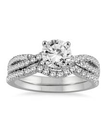 AGS Certified 1 1/3 Carat TW Diamond Bridal Set in 14K White Gold (J-K Color, I2-I3 Clarity)