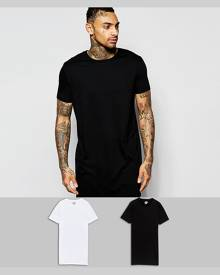 ASOS 2 Pack Super Longline T-Shirt In White/Black With Crew Neck SAVE - Multi