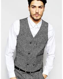 ASOS Slim Waistcoat In Salt and Pepper Fabric - Multi