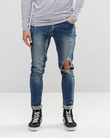 ASOS Super Skinny Jeans With Open Rips In Mid Blue - Blue
