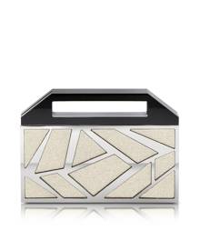 Avril 8790 Designer Handbags, Two Faces Ruthenium Plated Brass and Golden Viscose Clutch