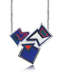 Avril 8790 Designer Necklaces, Ziggy Palladium Plated Brass and Viscose Pendant Necklace