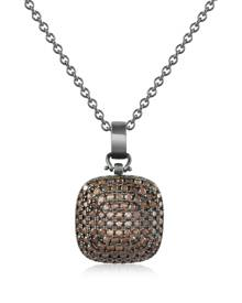 Azhar Designer Necklaces, Cubic Zirconia and Sterling Silver Square Pendant Necklace