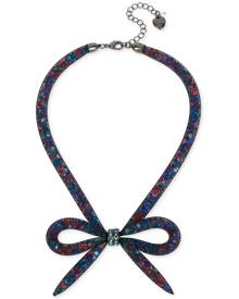 Betsey Johnson Hematite-Tone Mesh Bow Collar Necklace