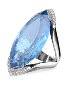 Forzieri Blue Topaz and Diamond White Gold Fashion Ring