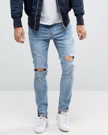 Brave Soul Distressed Skinny Jeans - Blue