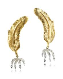 Bernard Delettrez Bronze Feather w/Silver Claw Earrings