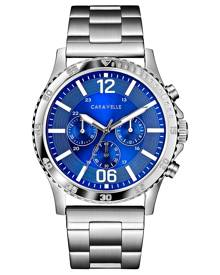 Caravelle Men's Chronograph Stainless Steel Bracelet Watch 44mm