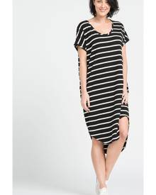 Classic Scoop Neck Dress in Black and White Stripe