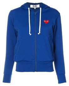 Comme Des Garçons Play - zip up hoodie - women - Polyester - XS, M, L, S - BLUE