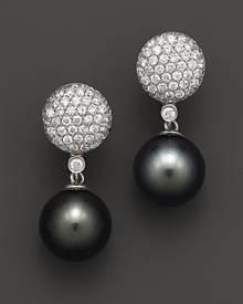 Bloomingdale's Cultured Tahitian Pearl and Diamond Drop Earrings in 14K White Gold, 11mm
