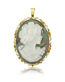 Del Gatto Designer Cameo, Woman Mother of Pearl Cameo Pendant/Pin