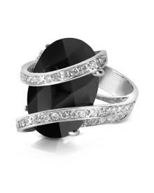 Del Gatto Designer Rings, Onyx Diamond Channel 18K Gold Ring