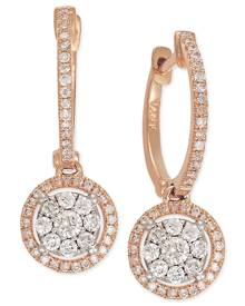 Macy's Diamond Circle Drop Earrings in 14k Rose Gold (5/8 ct. t.w.)