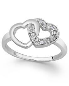 Macy's Diamond Double Heart Ring in Sterling Silver (1/10 ct. t.w.)