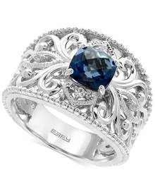 Effy Collection Effy London Blue Topaz (1-3/4 ct. t.w.) and White Sapphire Accent Statement Ring in Sterling Silver