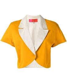 Emanuel Ungaro Vintage - colour block bolero jacket - women - Cotton - 46, 48 - YELLOW & ORANGE