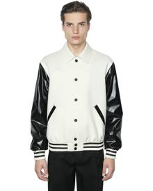 CALVIN KLEIN COLLECTION Faux Leather & Wool Bomber Jacket