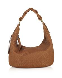 Fontanelli Designer Handbags, Tan Washed Woven Leather Gusset Hobo Bag