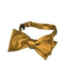 Forzieri Designer Bowties and Cummerbunds, Ocher Yellow Solid Silk Self-tie Bowtie