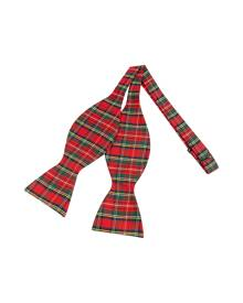 Forzieri Designer Bowties and Cummerbunds, Red & Green Plaid Printed Silk Self-tie Bowtie