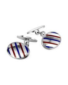 Forzieri Designer Cufflinks, Oval Striped Sterling Silver Double Sided Cufflinks