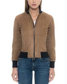 Forzieri Designer Leather Jackets, Brown Suede Women's Bomber Jacket