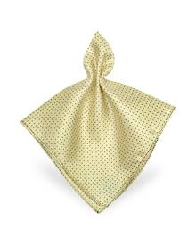 Forzieri Designer Pocket Squares, Mini Polkadot Twill Silk Pocket Square