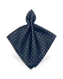 Forzieri Designer Pocket Squares, Polkadot Twill Silk Pocket Square