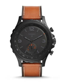 Fossil MEN Hybrid Smartwatch - Q Nate Dark Brown Leather