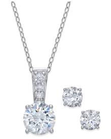 Giani Bernini 2-Pc. Set Cubic Zirconia Round Pendant Necklace and Stud Earring Set in 18k Gold-Plated Sterling Silver, 18k Rose