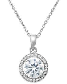 Giani Bernini Cubic Zirconia Halo Pendant Necklace in Sterling Silver or 18k Gold over Sterling Silver