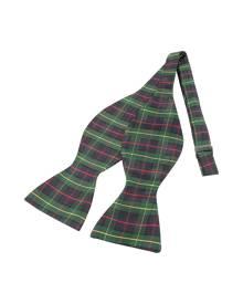 Forzieri Green Plaid Printed Silk Self-tie Bowtie