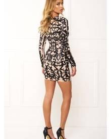 Honey Couture EBONEE Black Long Sleeve Sequin Dress