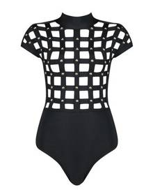Honey Couture ELORA Black w Gold Studs Cage Bandage Bodysuit