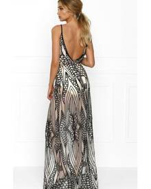 Honey Couture GWEN Nude Black Crystal Sequin Maxi Formal Gown