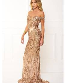 Honey Couture HAILEY Rose Gold Sheer Sequin Off Shoulder Evening Gown Dress