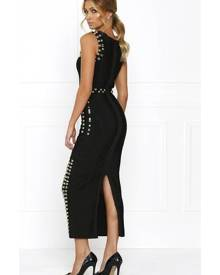 Honey Couture KIM Black Gold Detail Maxi Bandage Dress