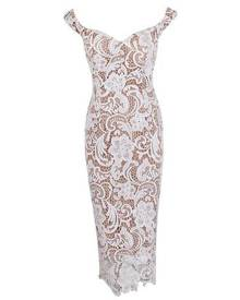 Honey Couture Nude w White Off Shoulder Lace Lover Dress