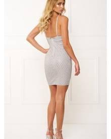 Honey Couture PAIGE Silver Lattice Mini Dress Zip Slit