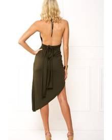 Honey Couture VIDA Tie Up Khaki Wrap Midi Dress