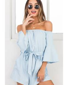 Showpo Against The Tide playsuit in light blue - 12 (L) Playsuits &
