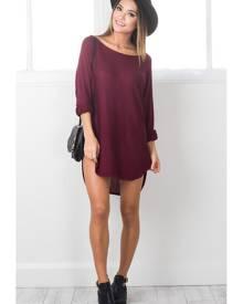Showpo Lazy Girl top in wine-10 (M) Knitwear