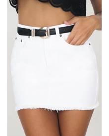 Showpo I Got This Skirt in white denim - 10 (M) Skirts