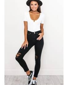 Showpo Tammy Skinny Jeans in Black Denim - 10 (M) Jeans