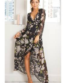 Showpo Autumn Falls maxi dress in black floral - 10 (M) Maxi Dresses